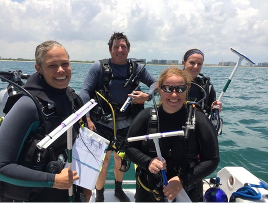 CRCP's dive team hits the water to collect reef fish data as part of the RVC project.