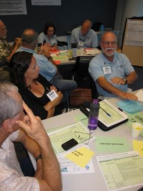 Our Florida Reefs South Community Working Group member Jim Bohnsack, right, discusses management options with his fellow group members at one of the Fall 2014 meetings.