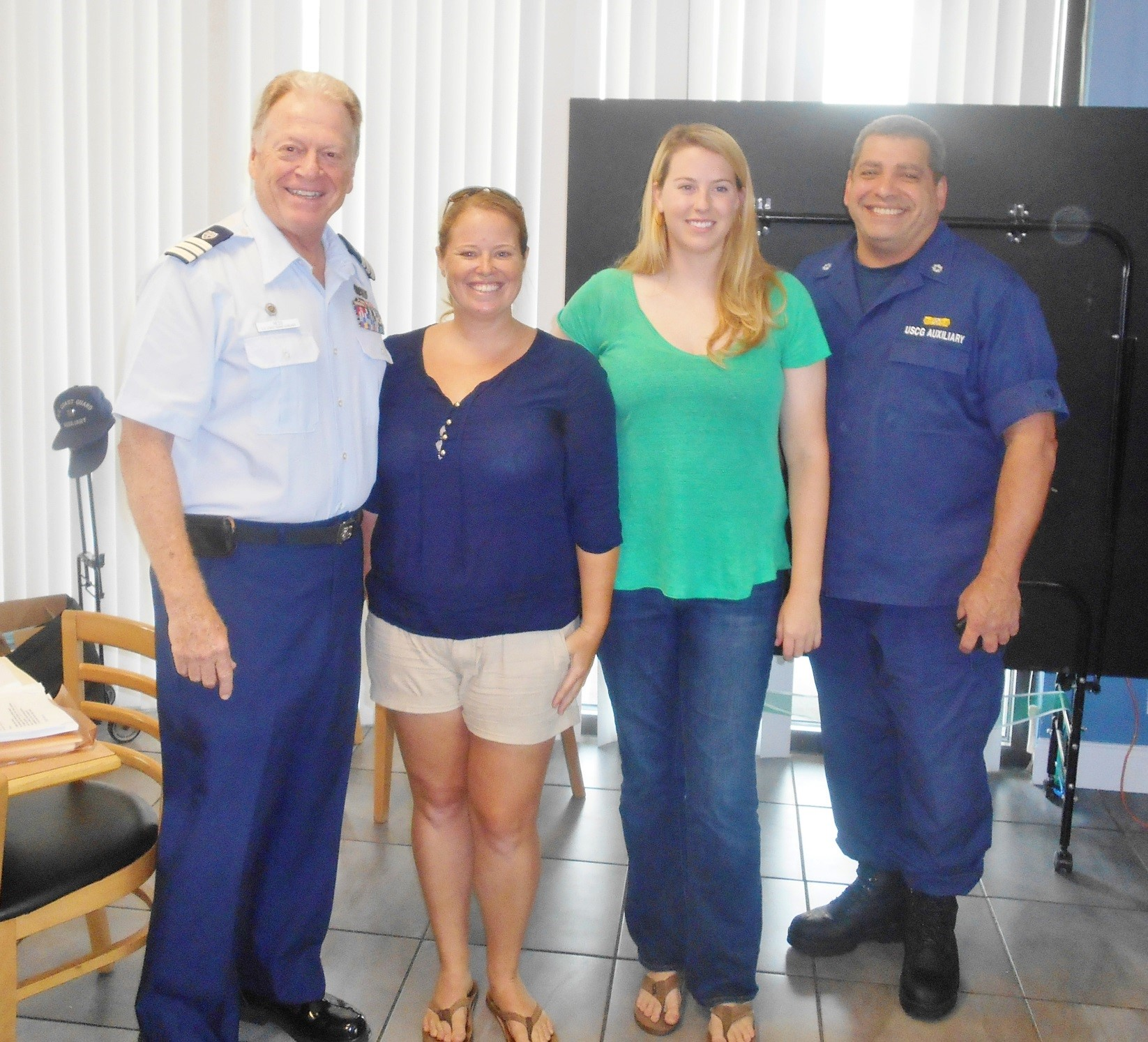 From left: United States Coast Guard Auxiliary member Dan Hess, Field & Administrative Assistant Kristina Trotta, Reef Injury Prevention and Response Coordinator Mollie Sinnott and United States Coast Guard Auxiliary member William Tejerio.