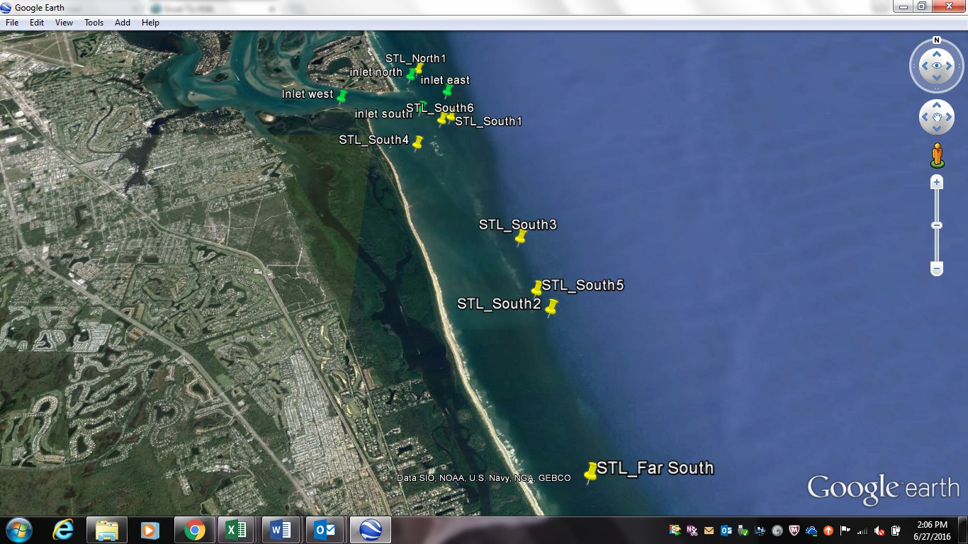 Selected sites along the St. Lucie inlet for water quality monitoring.