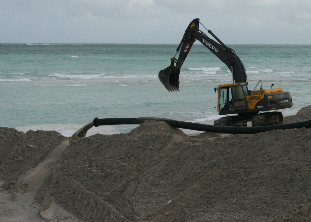 A 2010 beach renourishment project on Miami Beach.
