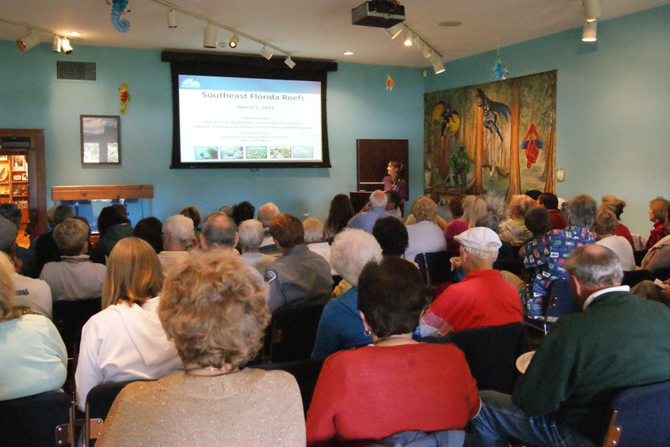 SEFCRI Team member Erin McDevitt giving a presentation at the Loxahathcee River Center in Jupiter, Florida. Photo: Bud Howard