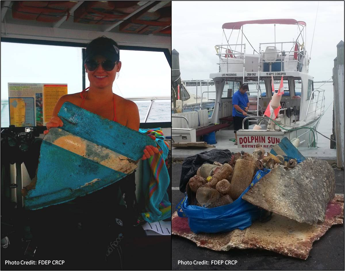 A piece of fiberglass boat (left) was one of many items picked up by divers on Dolphin Sun Dive Charters (right) during the Palm Beach County portion of the 3rd Annual Southeast Florida Reef Cleanup. Photo: FDEP CRCP