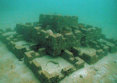 Artificial reefs, such as this one off of Broward County, Florida, are deployed to attract fish and often serve as popular dive sites.
